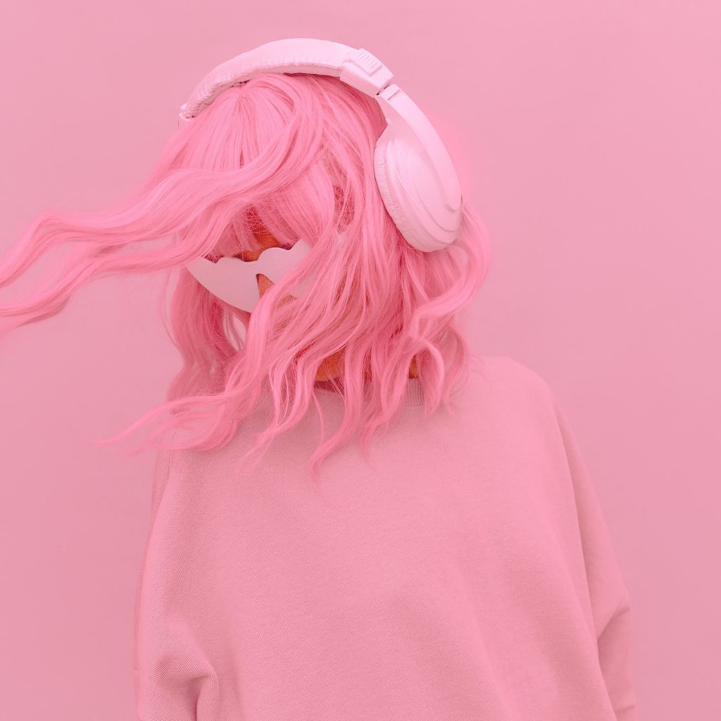 Vanilla Pink Dj Girl. Monochrome Party style. Stylish headphones, music lover concept